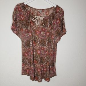 Lucky Brand Pink Brown Paisley Boho SS Tee Blouse